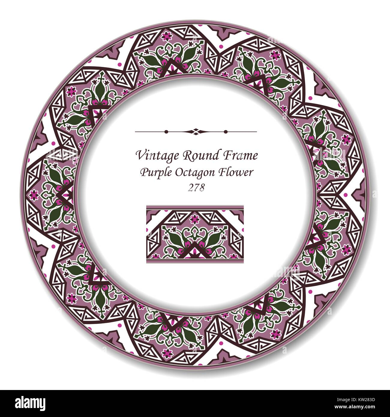 Vintage Round Retro Frame of Retro Botanic Garden Purple Octagon Flower Stock Vector