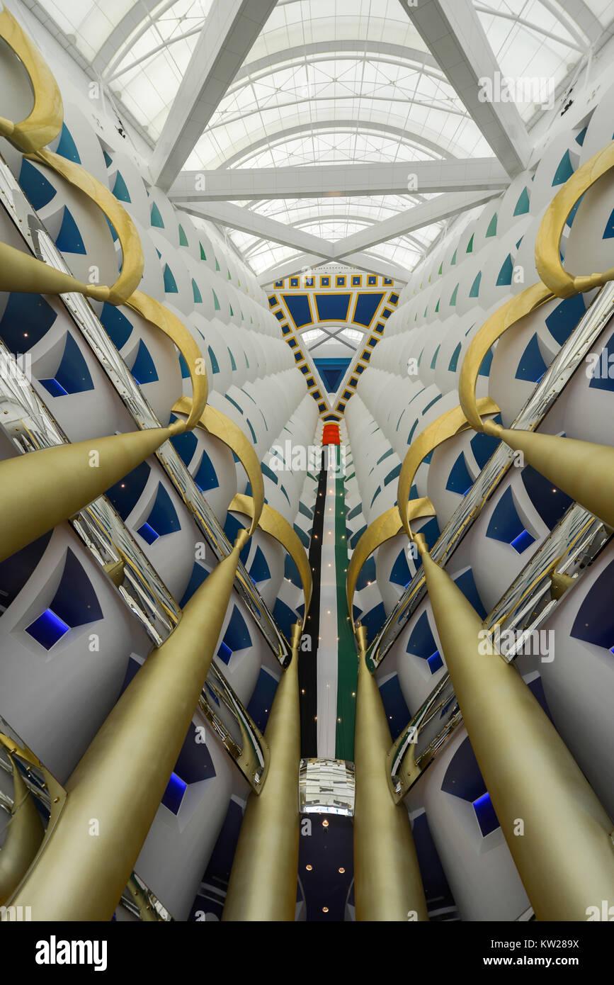 Dubai, UAE - November 25, 2012: Interior of the Burj al-Arab, in Dubai, UAE. The Bur is the most exclusive hotel - Stock Image