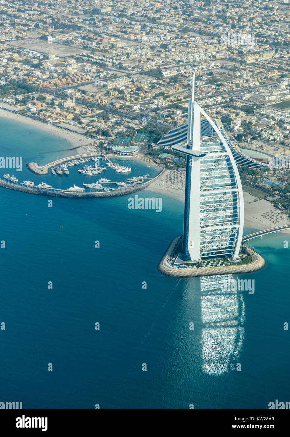 Dubai, UAE - November 25, 2012: View of the luxury beach of Dubai and Burj al-Arab, in Dubai,UAE. The Bur is the - Stock Image