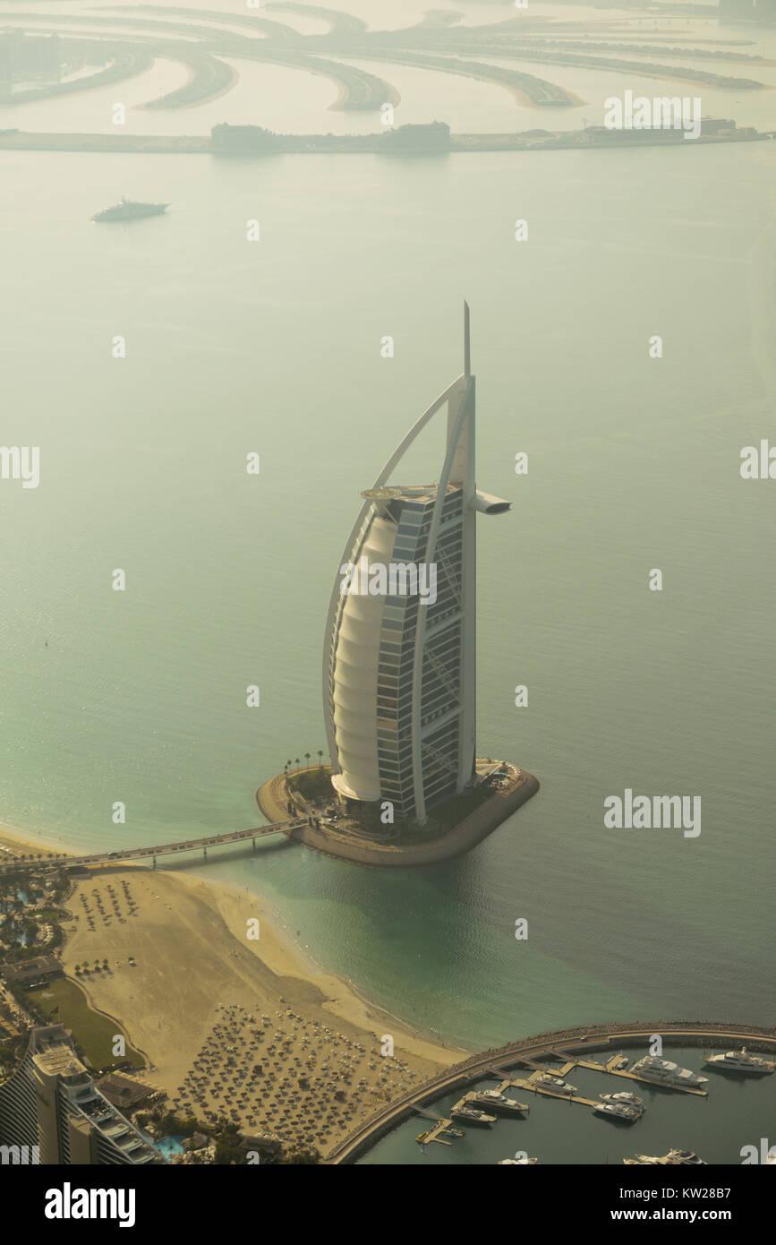 Dubai, UAE - November 25, 2012: View of the luxury beach of Dubai and Burj al-Arab, in Dubai,UAE. The Bur is the - Stock Image
