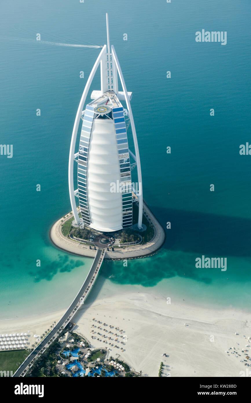 Dubai, UAE - November 25, 2012: View of the luxury beach of Dubai and Burj al-Arab, in Dubai,UAE. The Bur is the Stock Photo