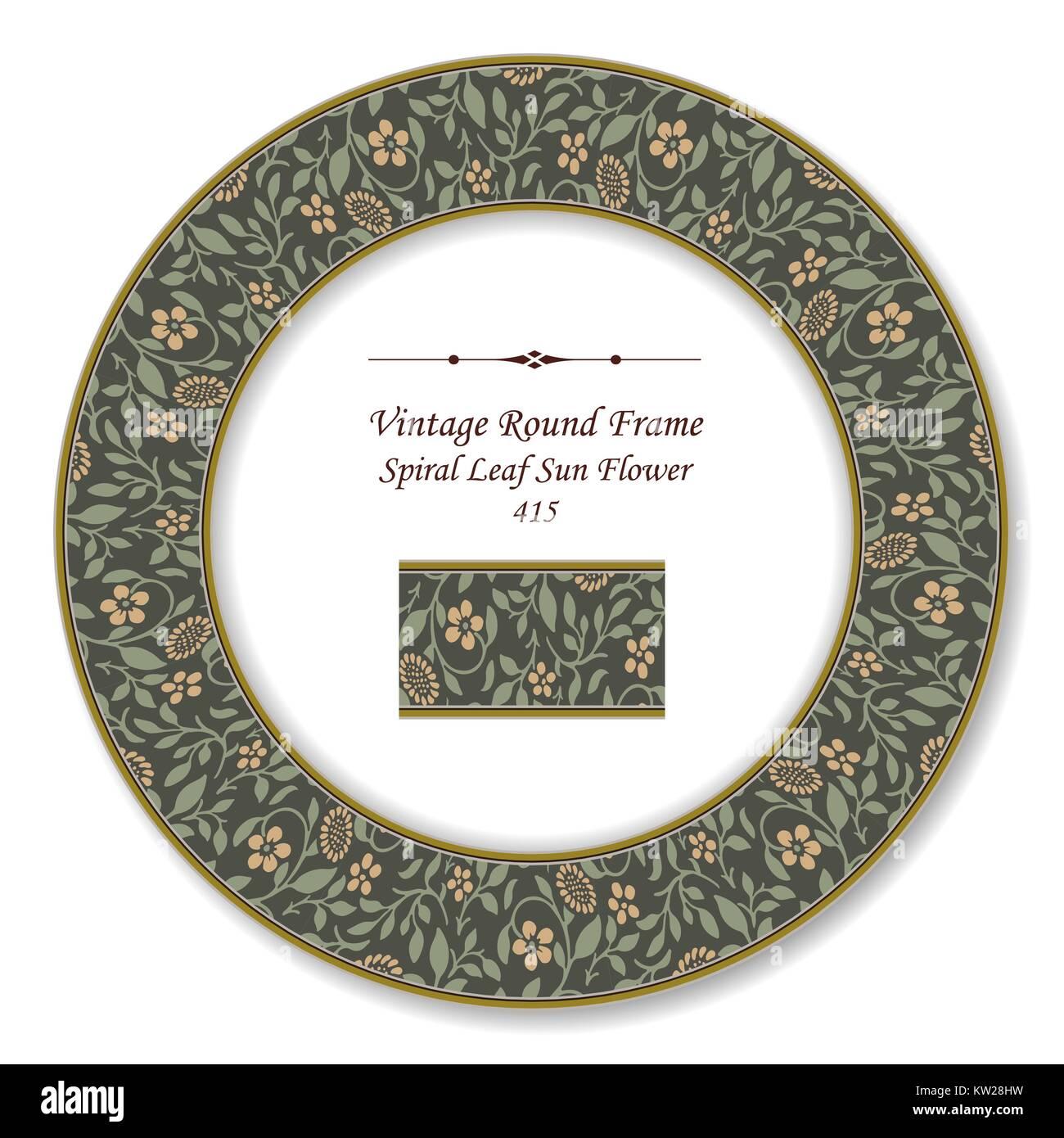Vintage Round Retro Frame of Botanic Garden Spiral Leaf Sun Flower Stock Vector
