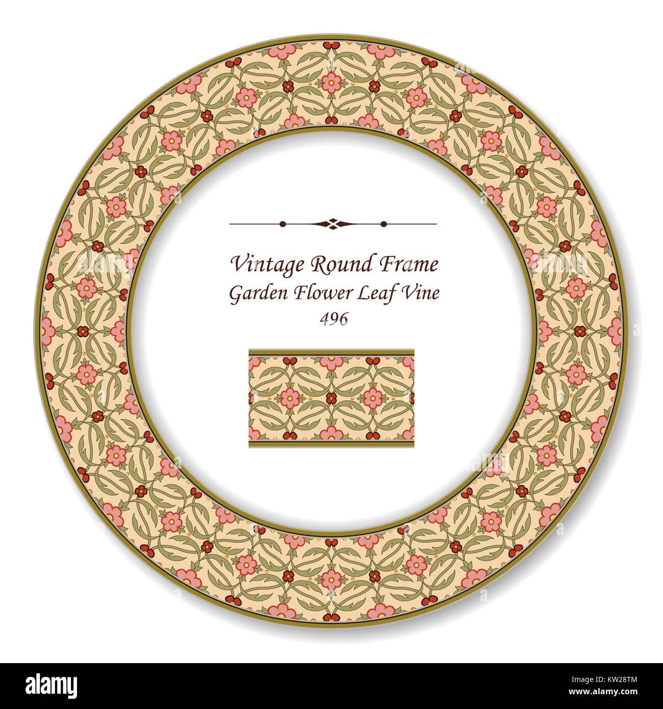 Vintage Round Retro Frame of Botanic Garden Flower Leaf Vine Stock Vector