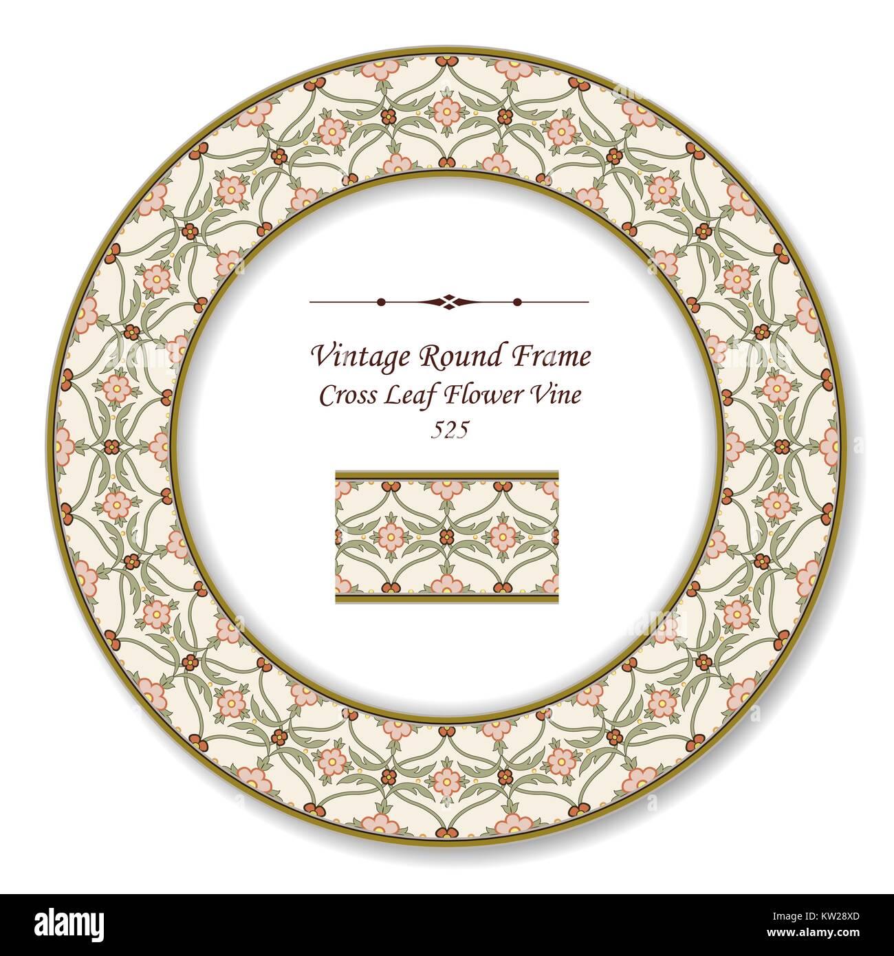 Vintage Round Retro Frame of Botanic Garden Cross Leaf Flower Vine Stock Vector