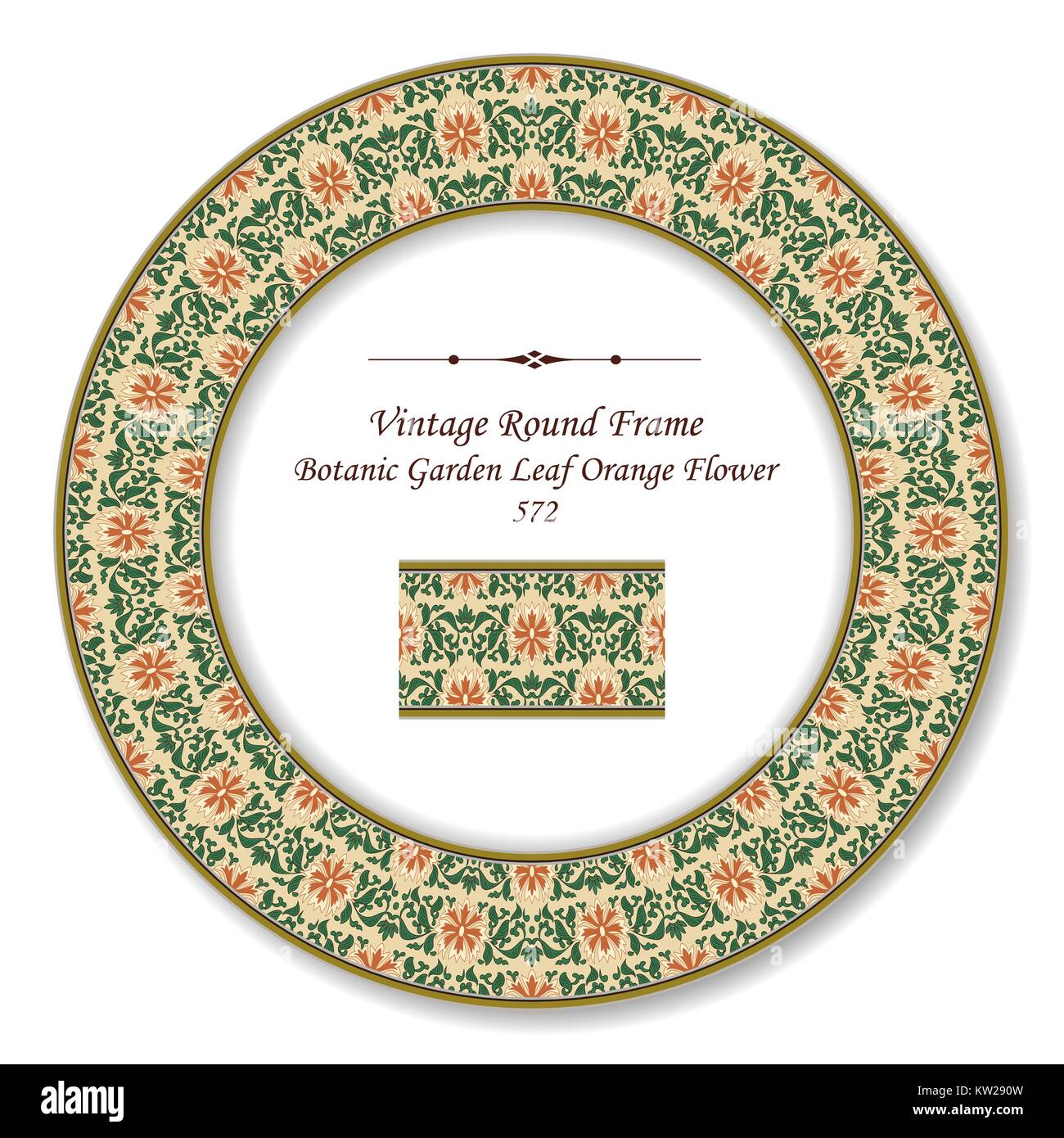 Vintage Round Retro Frame Botanic Garden Leaf Orange Flower Stock Vector