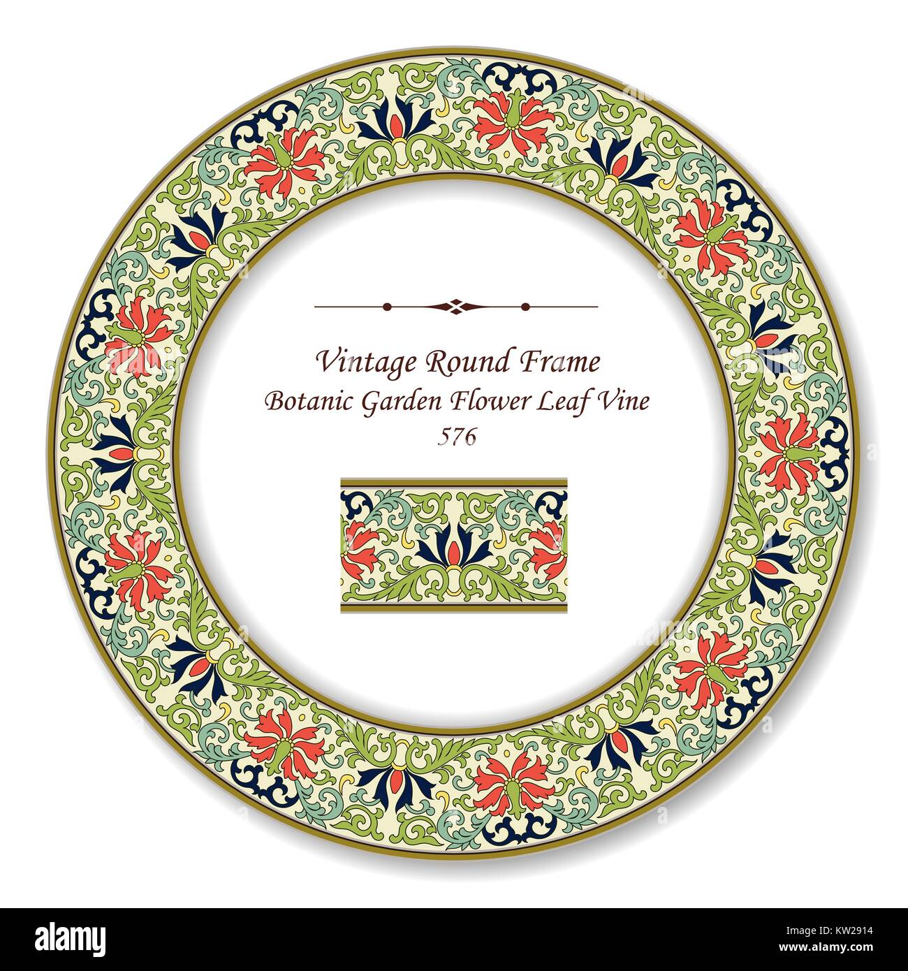 Vintage Round Retro Frame Botanic Garden Flower Leaf Vine Stock Vector