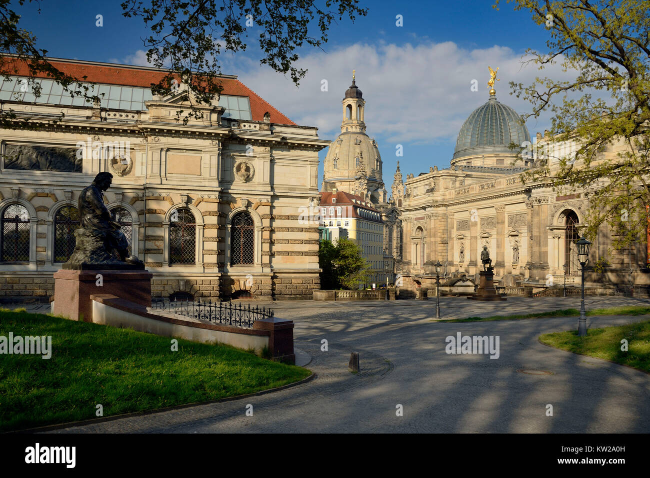 Dresden, Albertinum, Church of Our Lady and Lipsiusbau, Frauenkirche und Lipsiusbau - Stock Image