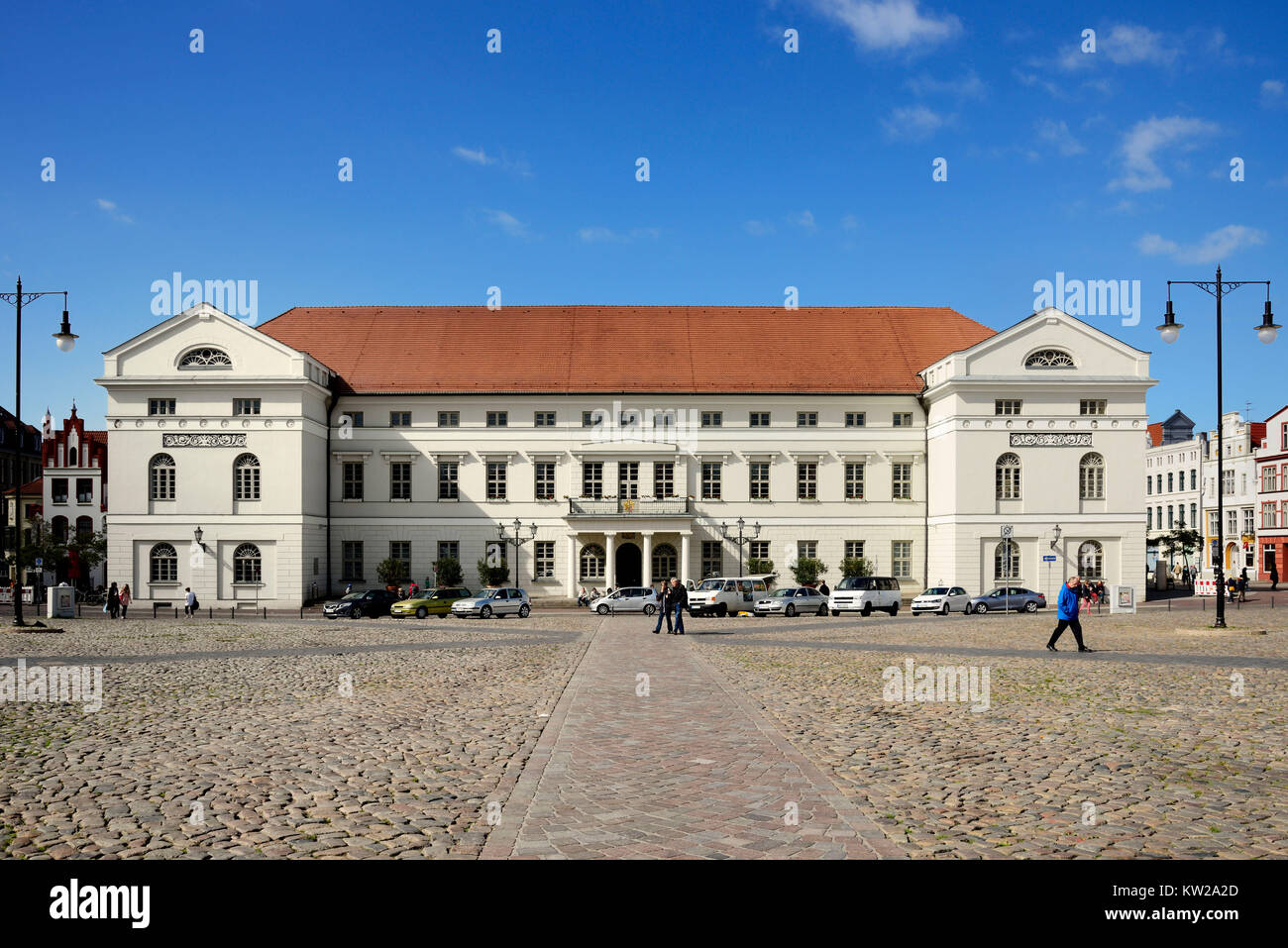 Wismar, city hall on the marketplace, Rathaus am Marktplatz - Stock Image