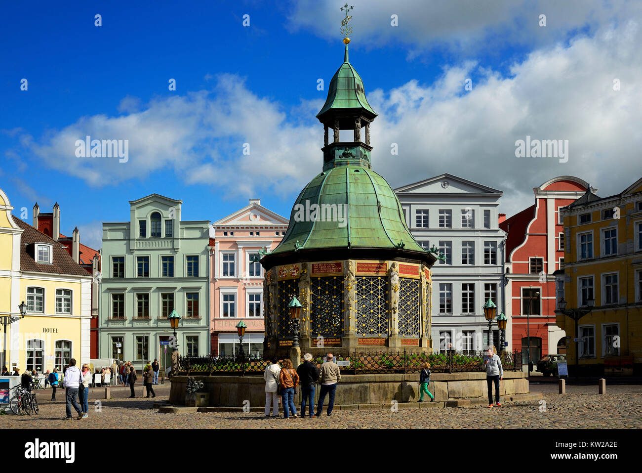 Wismar, marketplace, water art , Marktplatz, Wasserkunst - Stock Image