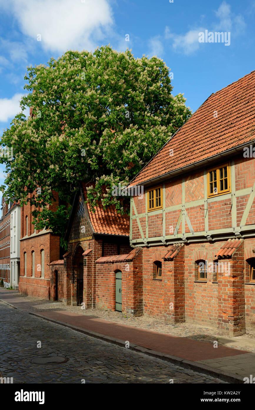 Wismar, Neustadt, outside view holy mind court, Aussenansicht Heiliger Geist Hof - Stock Image