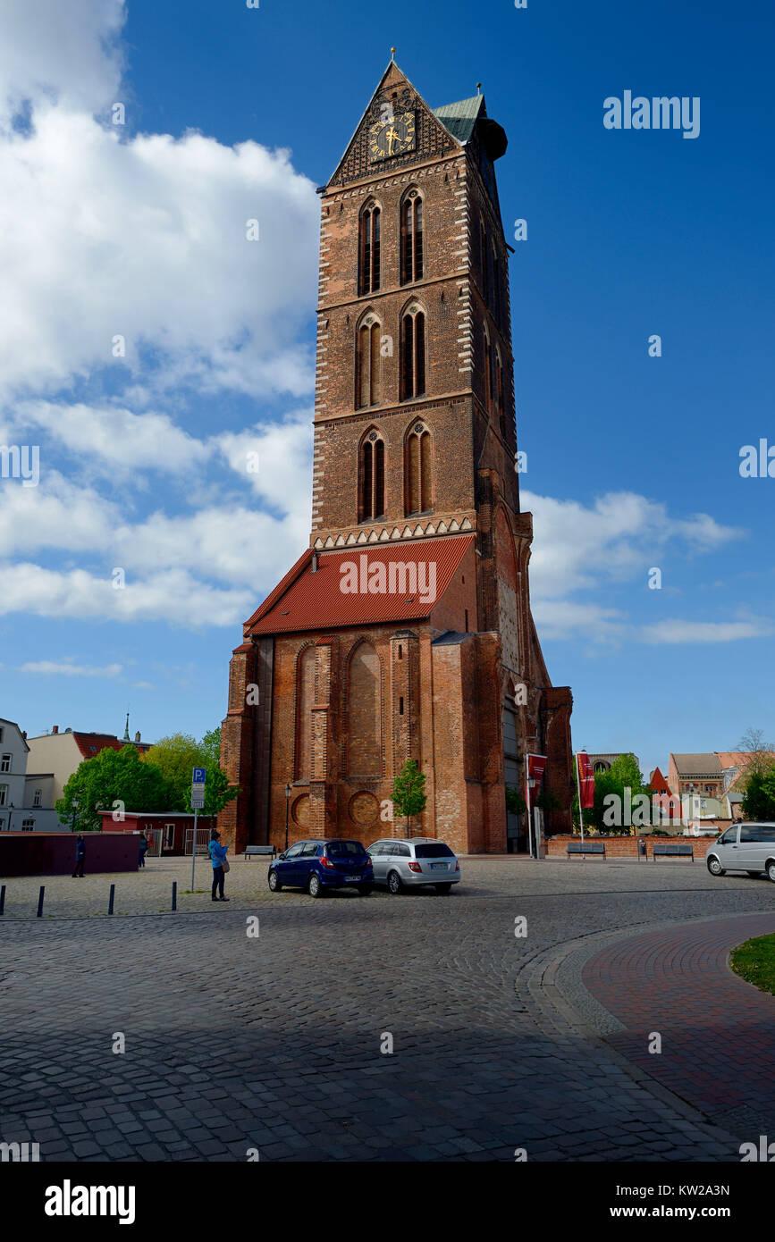 Wismar, steeple on Saint Marien Kirchhof, Kirchturm auf dem Sankt Marien Kirchhof - Stock Image