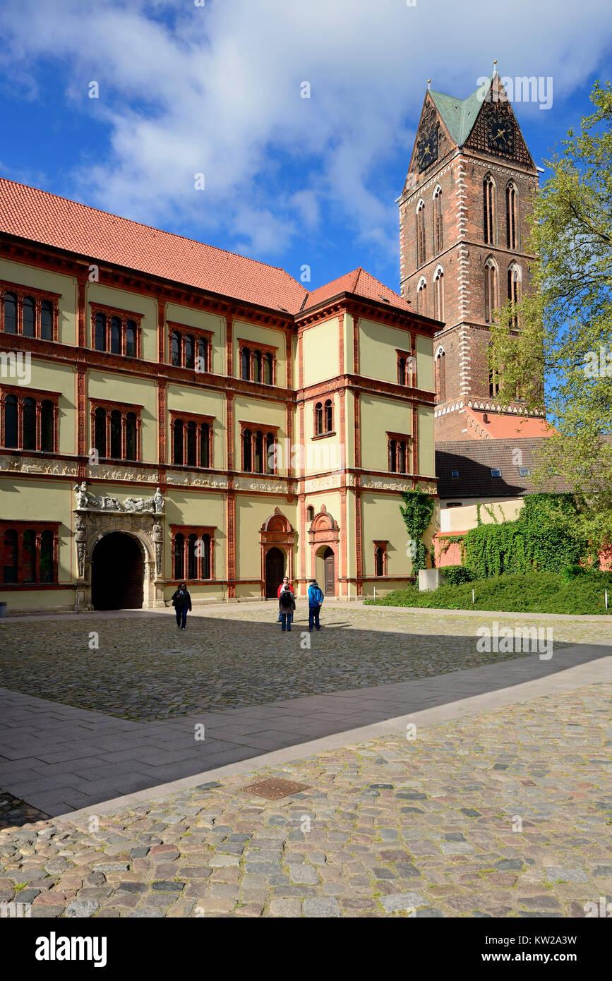 Wismar, Renaissance construction prince's court now district court and steeple Saint Marien, Renaissancebau - Stock Image