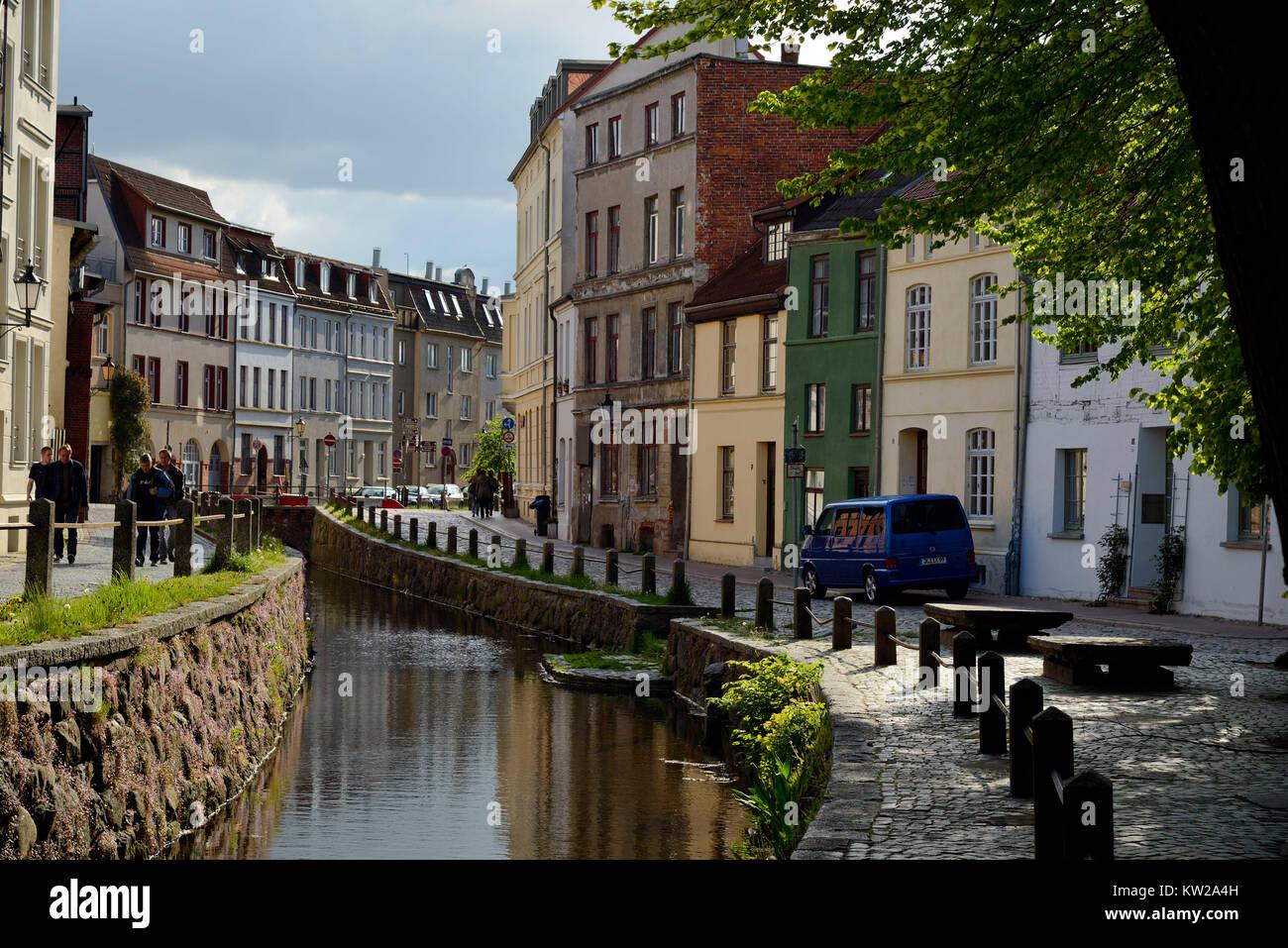 Wismar, fresh pit, medieval artificial town watercourse, Frische Grube, mittelalterlicher  künstlicher Stadtwasserlauf - Stock Image