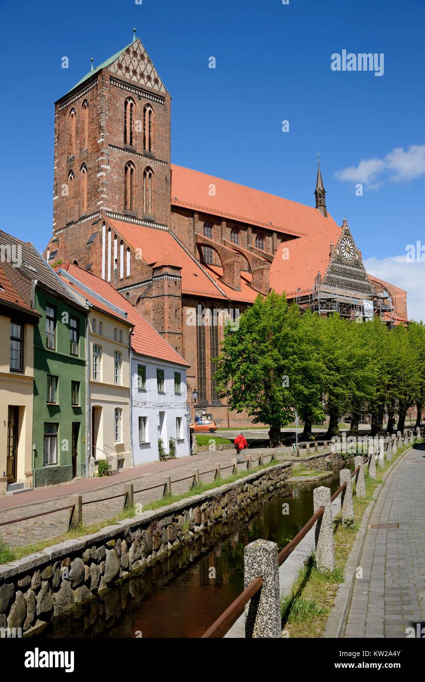 Wismar, fresh pit with Saint Nikolai Kirche, Frische Grube mit Sankt Nikolai Kirche - Stock Image