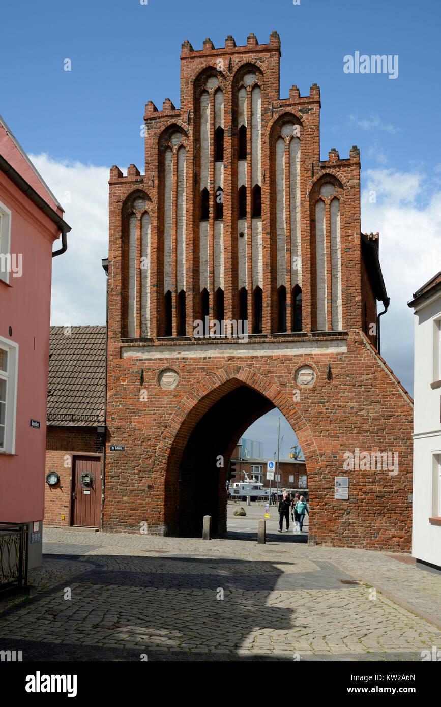 Wismar, water gate town side, Wassertor Stadtseite - Stock Image