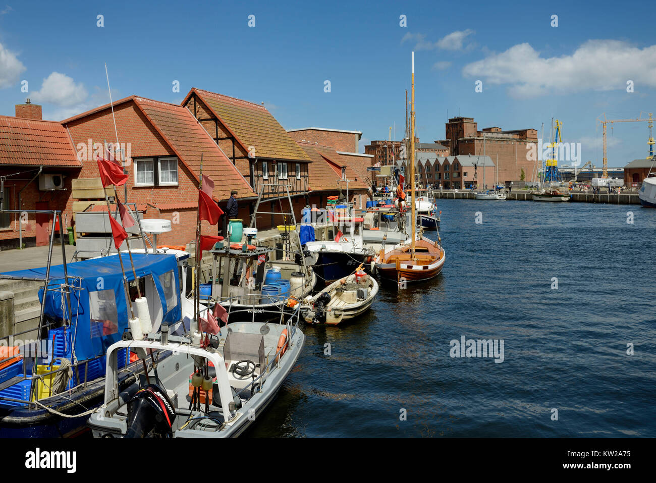 Wismar, fishing boats in the old harbour, Fischerboote im Alten Hafen - Stock Image