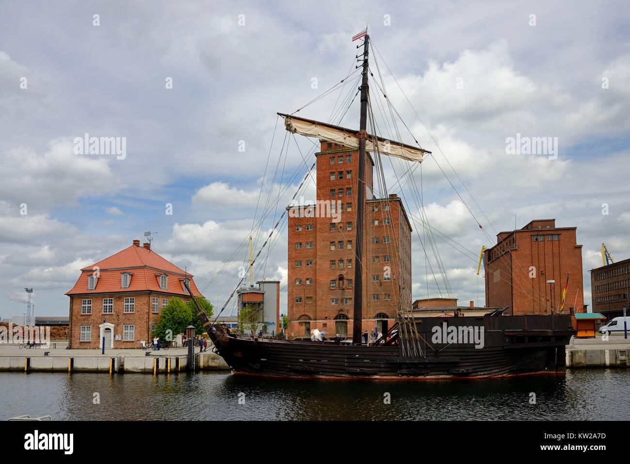 Wismar, old harbour, Kogge Wissemara, Alter Hafen - Stock Image