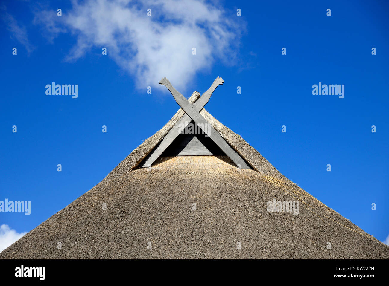 Wismar, wind boards in the fishing house in lifting, Windbretter am Fischerhaus in Hoben - Stock Image