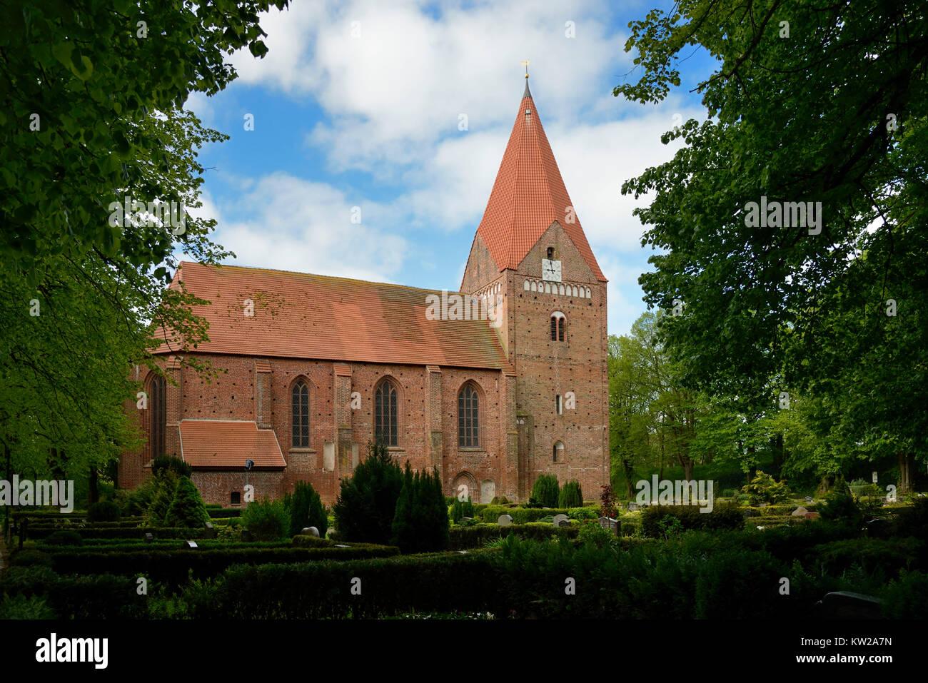 Baltic island Poel, in Romance style Gothic island church in village Kirch , Ostseeinsel Poel, romanisch gotische Stock Photo