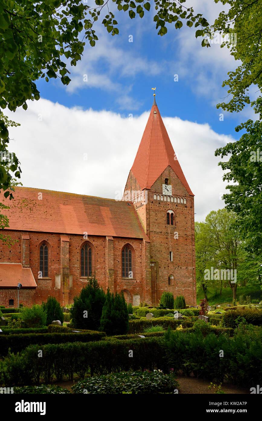 Baltic island Poel, in Romance style Gothic island church in village Kirch , Ostseeinsel Poel, romanisch gotische - Stock Image