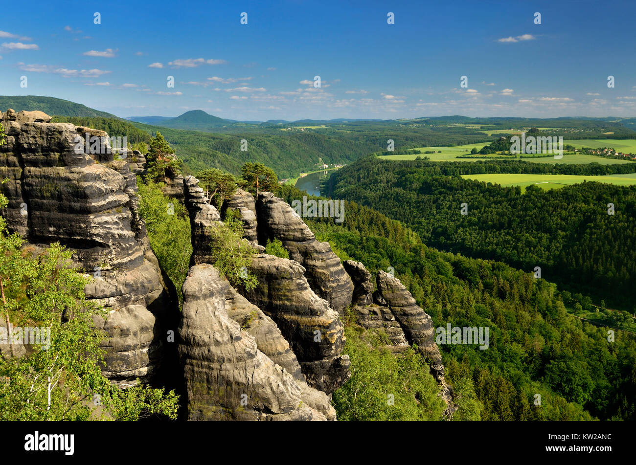 Elbsandsteingebirge, rock formations in the Schrammsteinen about the Elbtal, Felsformationen in den Schrammsteinen Stock Photo