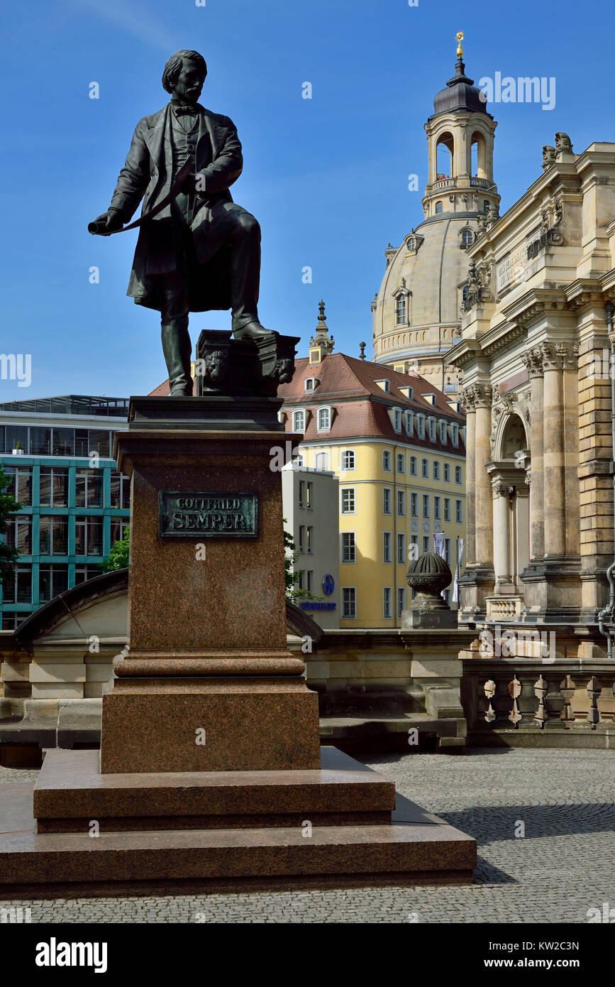 Dresden, Semperdenkmal on the Br?hlschen terrace, Semperdenkmal auf der Brühlschen Terrasse - Stock Image