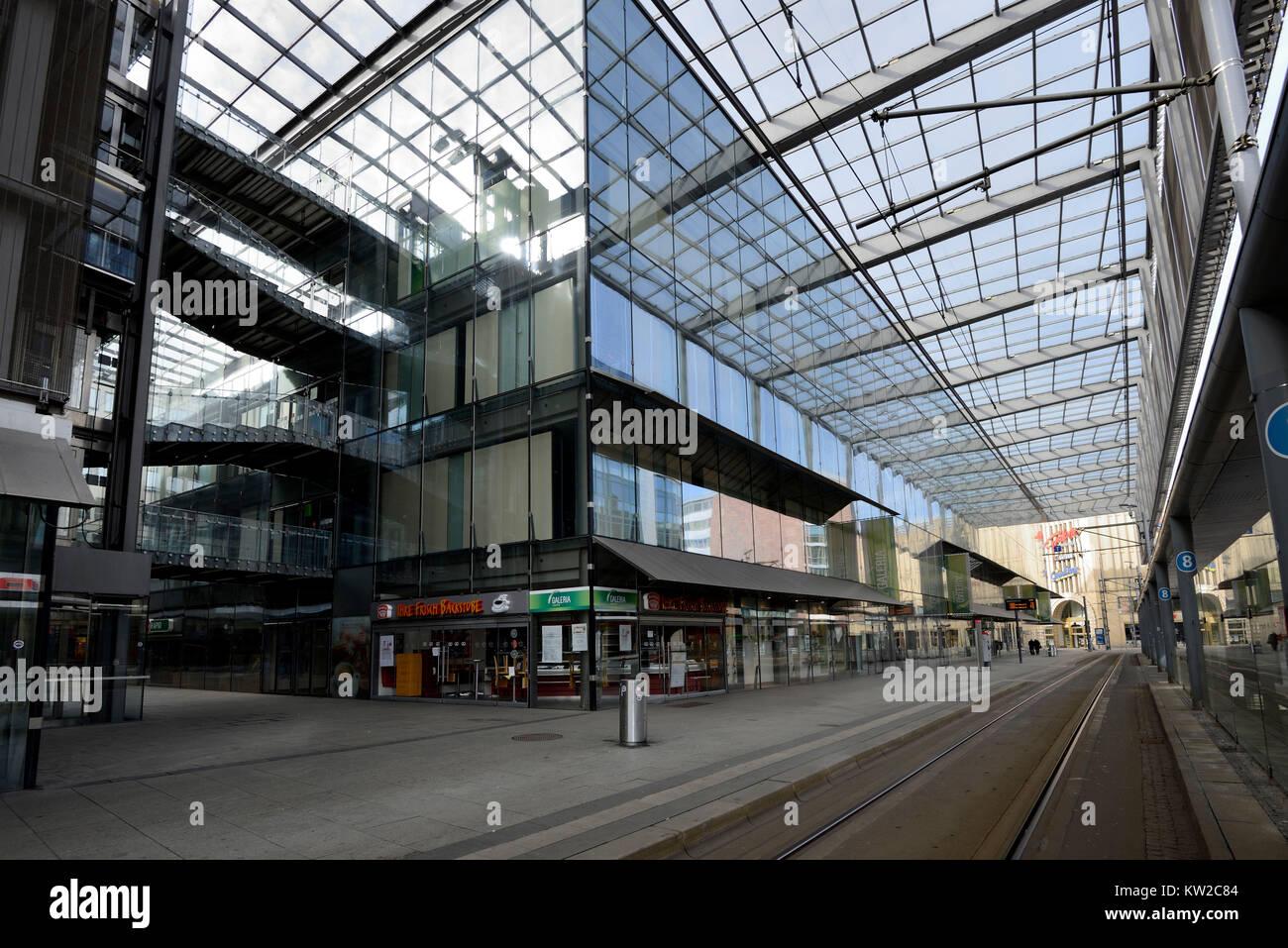 Chemnitz, central stop and shopping centre on Rathausstrasse, Zentralhaltestelle und Einkaufszentrum auf der Rathausstrasse Stock Photo