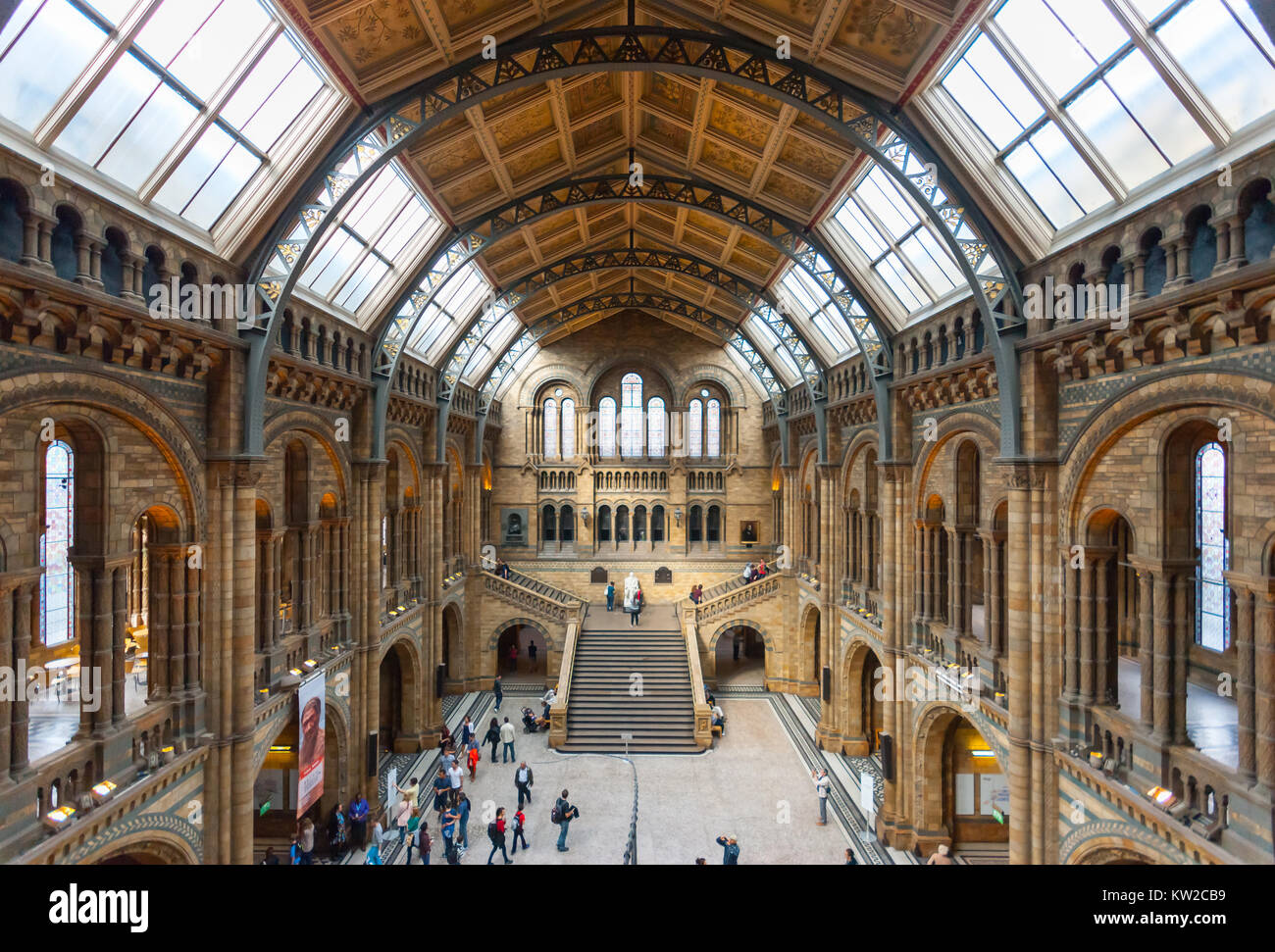 Natural History Museum London, main building by Alfred Waterhouse 1873-1880, main (Hintze) Hall, Victorian Gothic - Stock Image