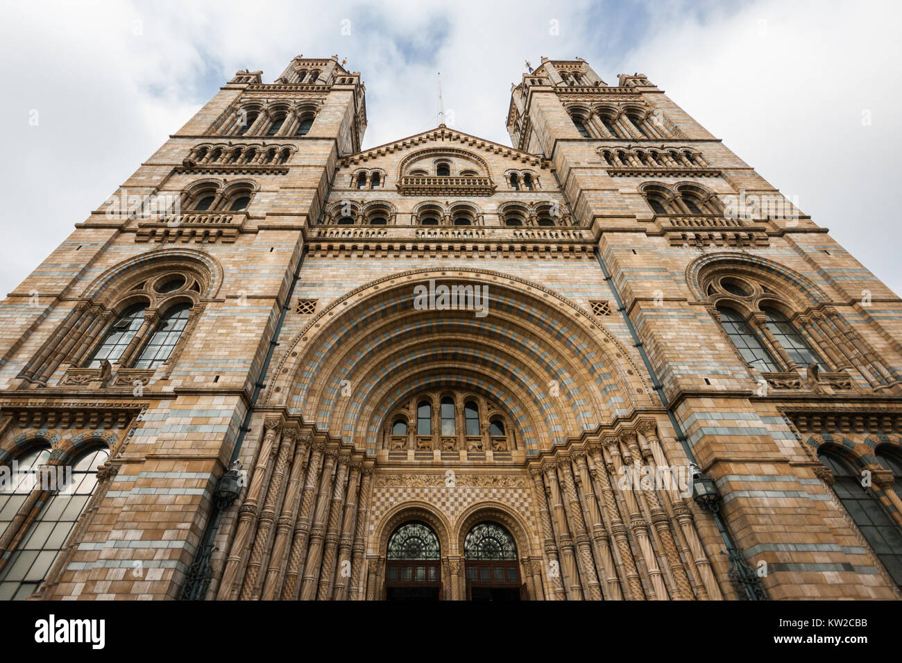 Natural History Museum London, main building by Alfred Waterhouse 1873-1880, facade on Cromwell Road, Victorian - Stock Image