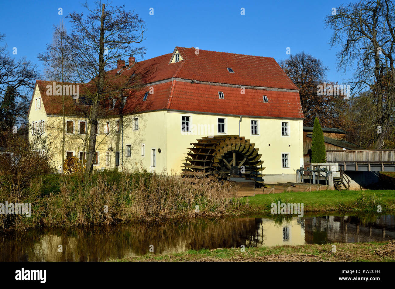 Magpie's mill Plessa, technical Denkmnal magpie's mill in Plessa, Elstermühle Plessa, Technisches Denkmnal - Stock Image