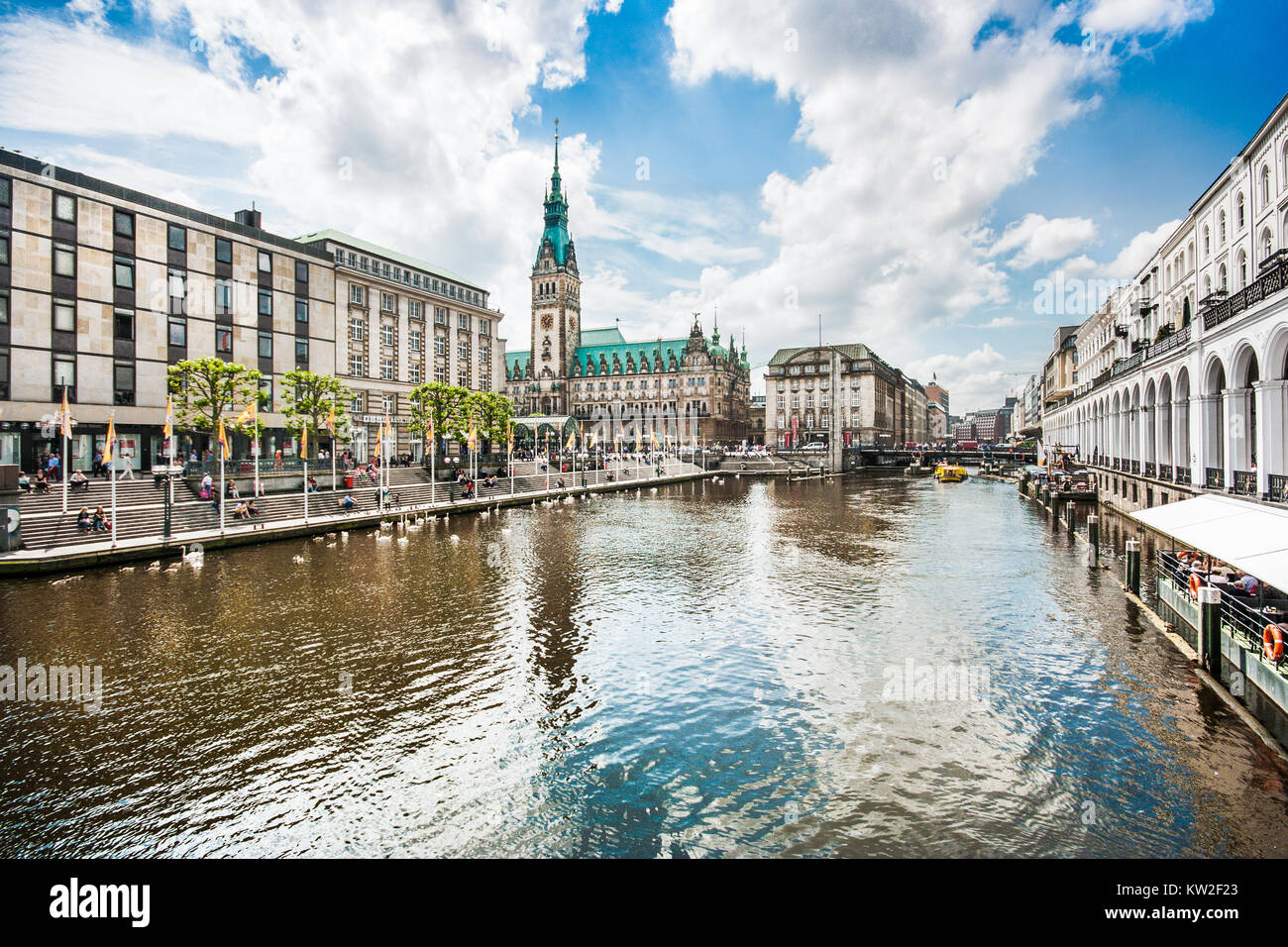 Beautiful view of Hamburg city center with town hall and Alster river, Germany - Stock Image