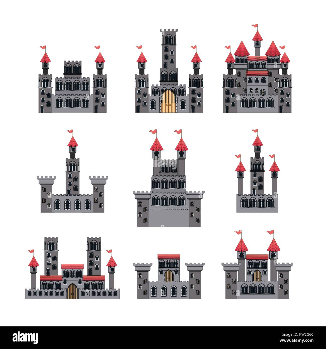 set of castles of fairy tales in white background - Stock Image