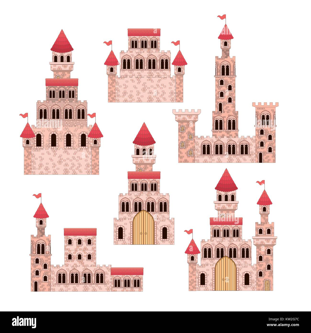 set of pink castles of fairy tales in white background - Stock Image