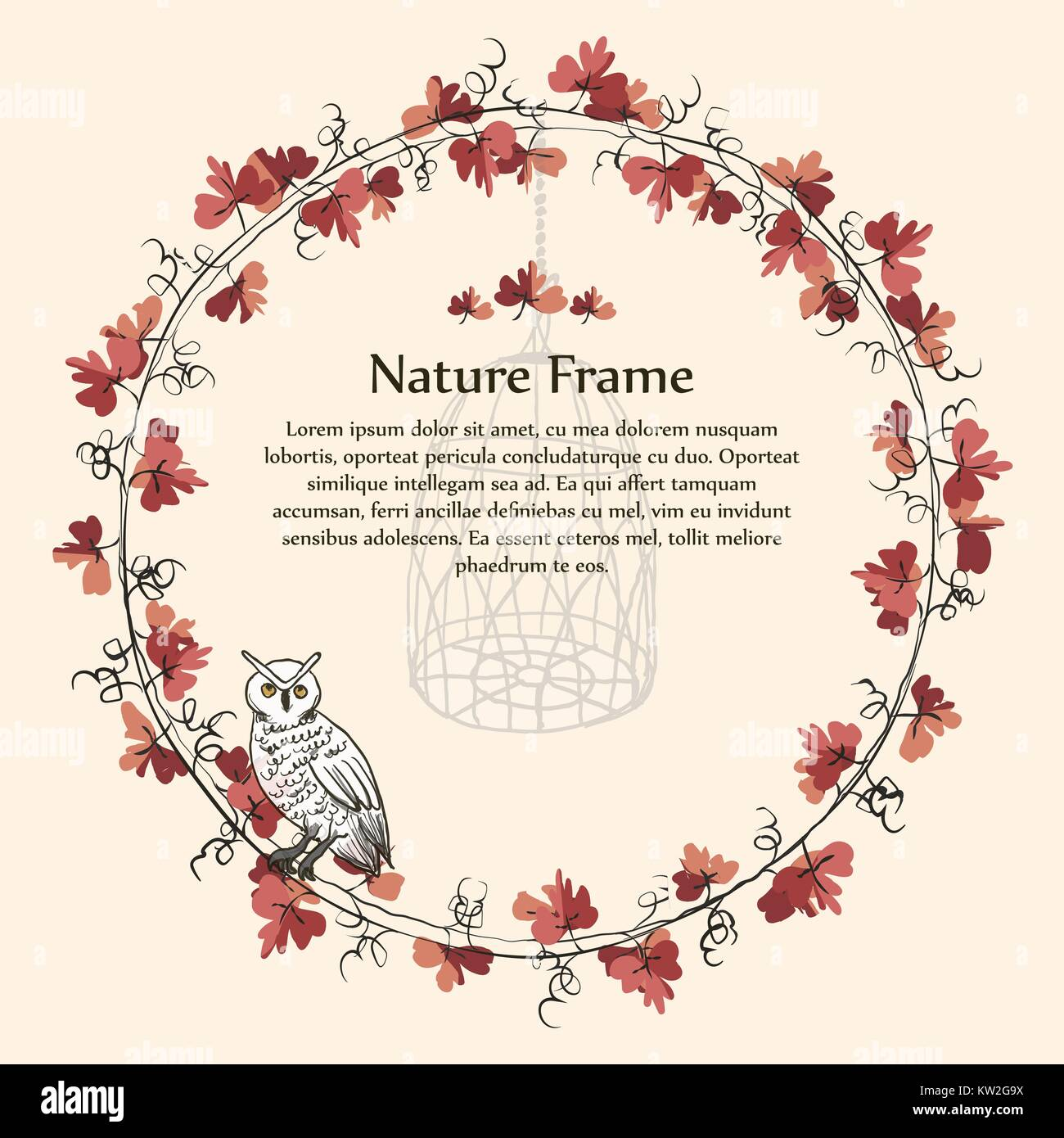 template image of nature autumn brown leaf vine frame and white owl stock vector image art alamy alamy