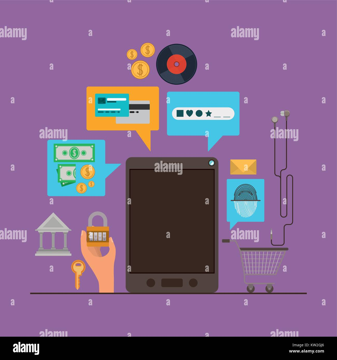 mobile security with tablet device and secure apps in purple color background - Stock Image