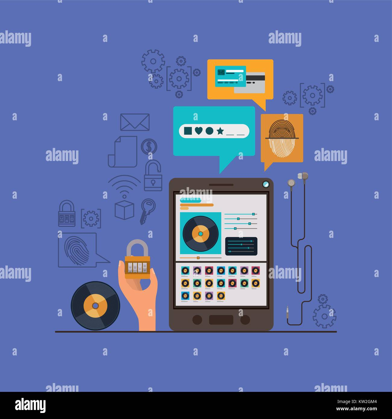 mobile security with tablet device and secure apps in violet color background - Stock Image