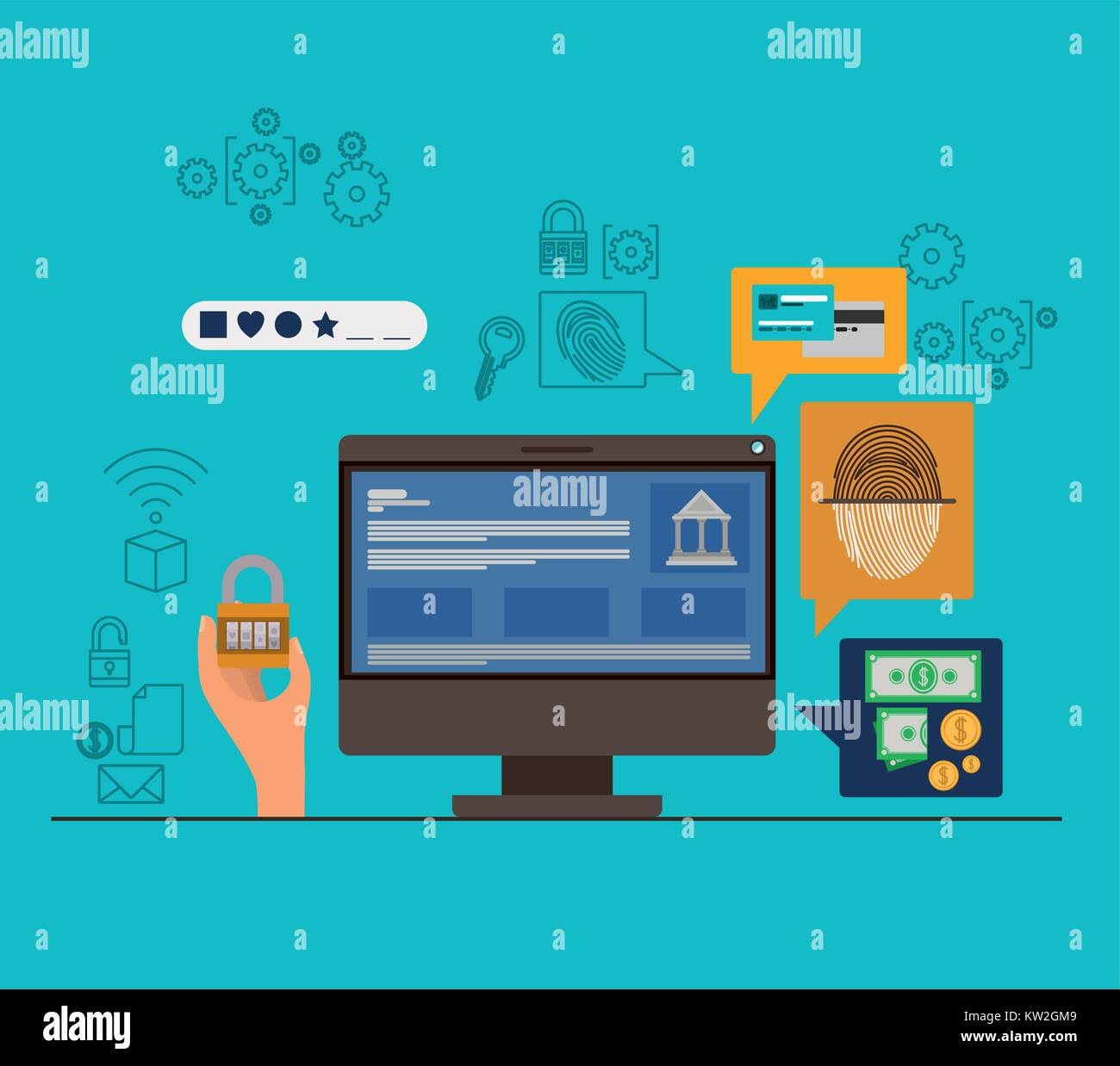 mobile security with desktop computer and secure apps in aquamarine color background - Stock Image