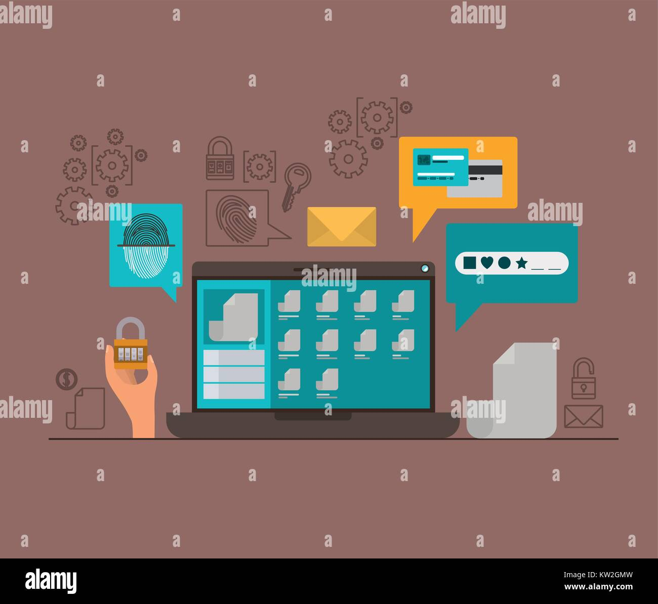 mobile security with laptop computer and secure apps in brown color background - Stock Image