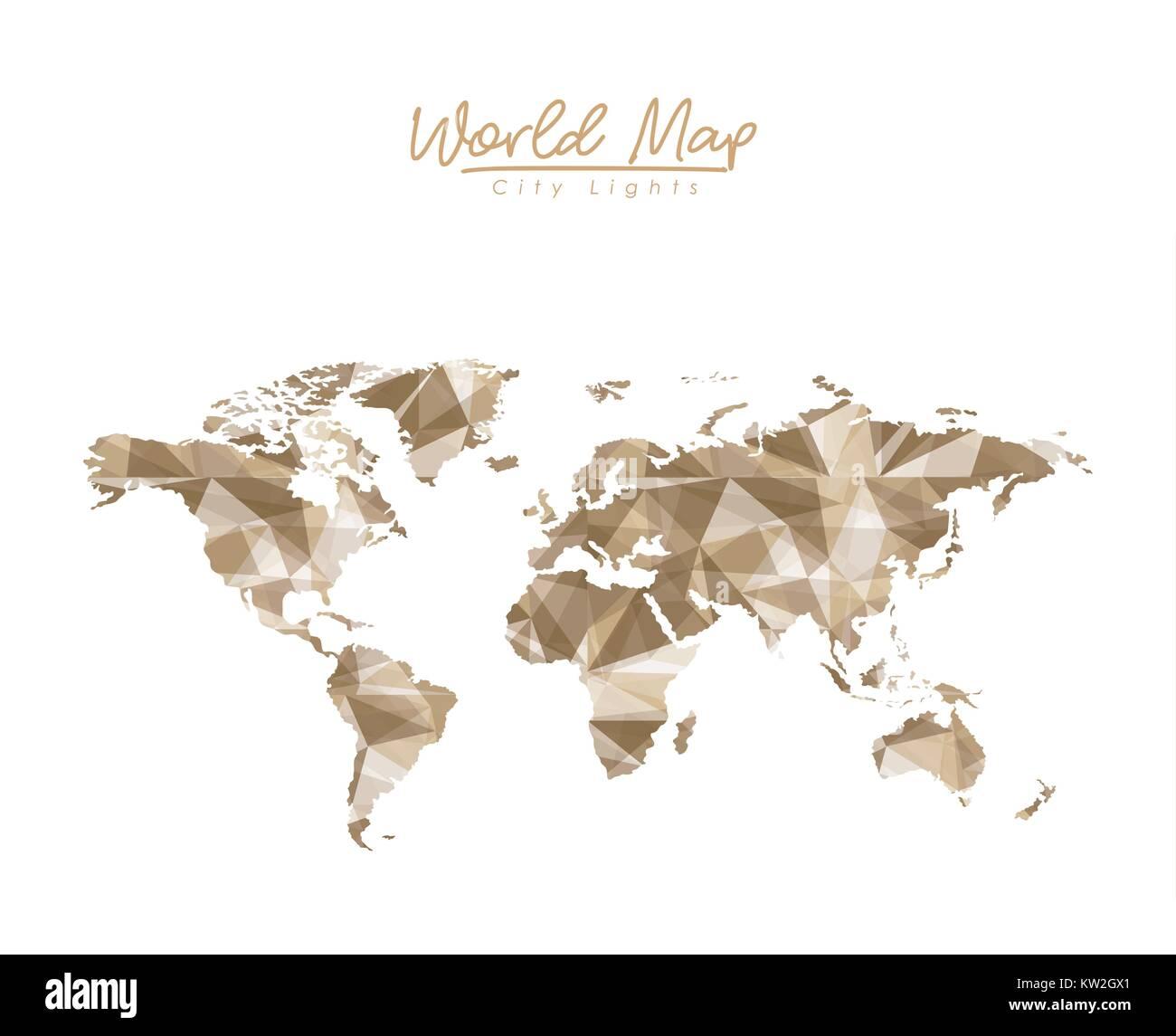 World map city lights in light brown polygon silhouette stock vector world map city lights in light brown polygon silhouette gumiabroncs Image collections