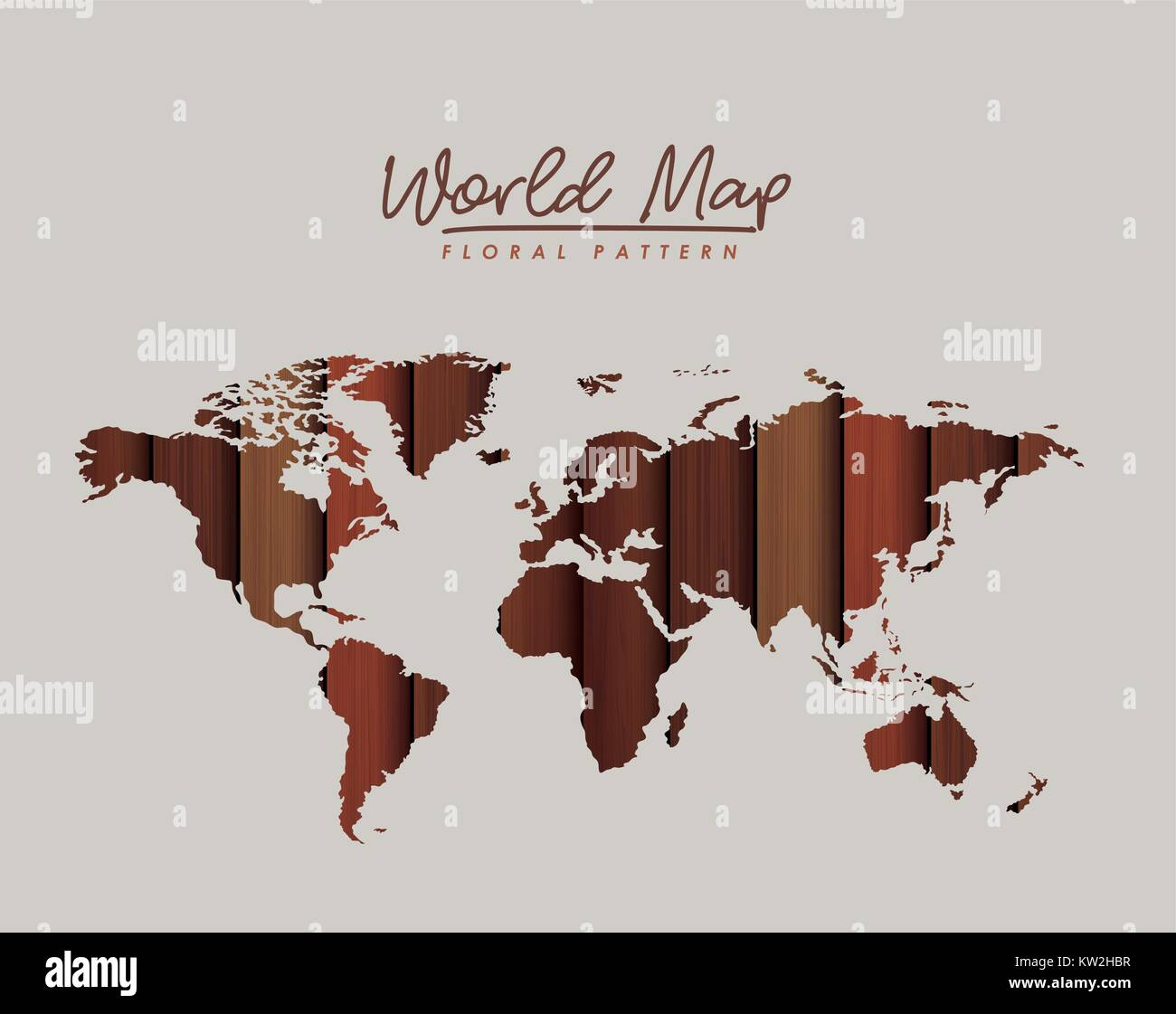 World map floral pattern with brown wood texture lines on light gray world map floral pattern with brown wood texture lines on light gray background gumiabroncs Images