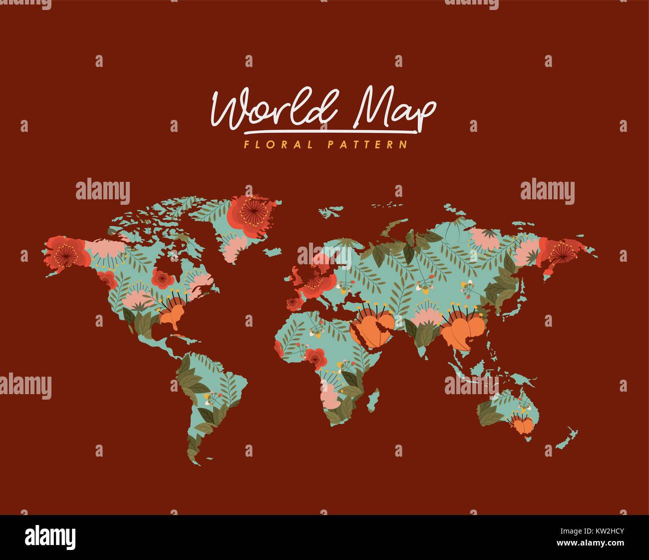 World map floral pattern in brown background stock vector art world map floral pattern in brown background gumiabroncs Image collections