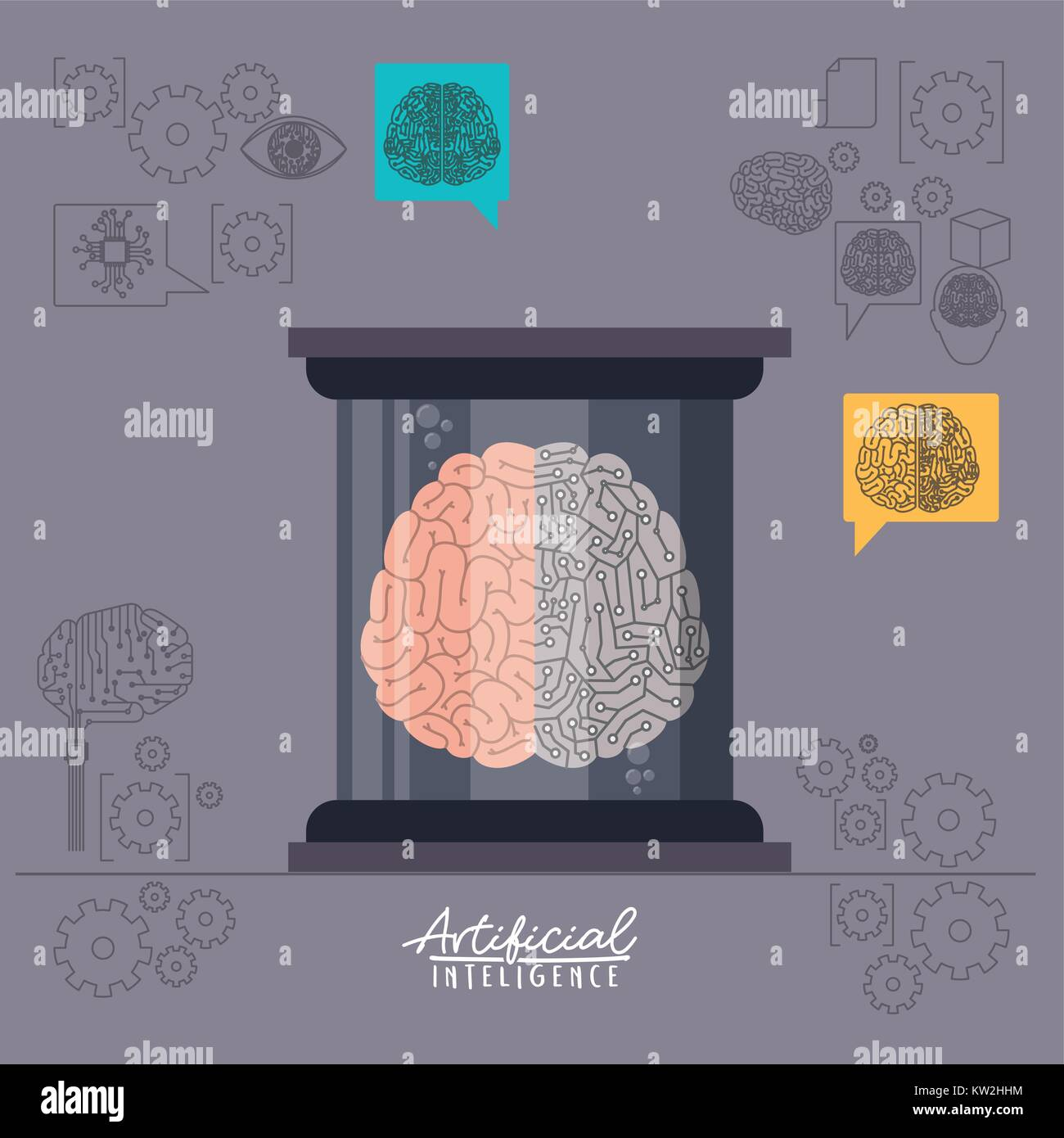 artificial intelligence poster with human brain in transparent container in thistle background - Stock Image