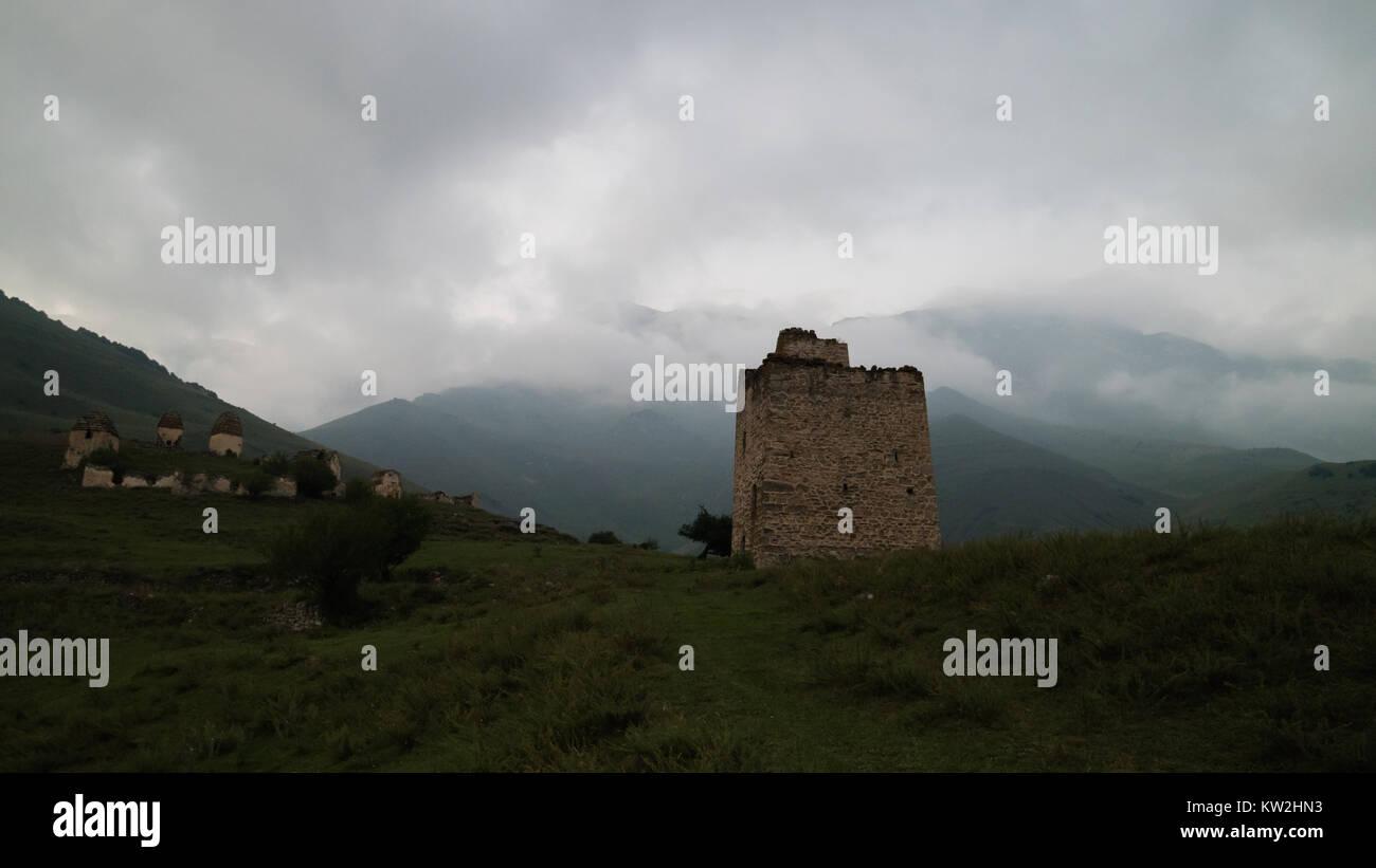 Residential medieval tower (family dwelling), Ingushetia, Caucasus - Stock Image