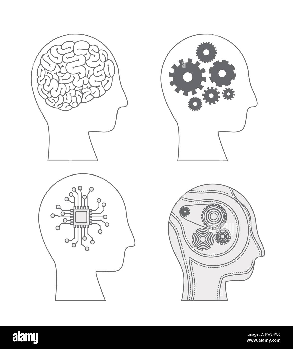 humans heads side view with hybrid brains in monochrome silhouette - Stock Image