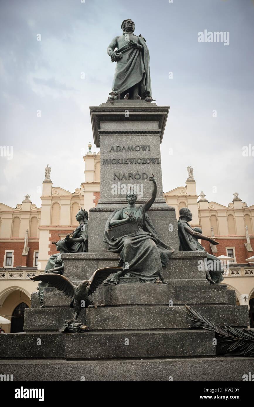 Krakow, Poland - August 4 ,2017:Adam Mickiewicz -Polish romantic poet- Monument  is one of the best known bronze Stock Photo