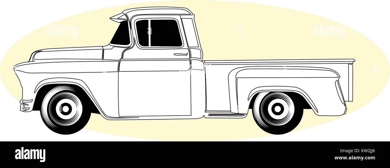 Silhouette Of Retro Pick Up Truck