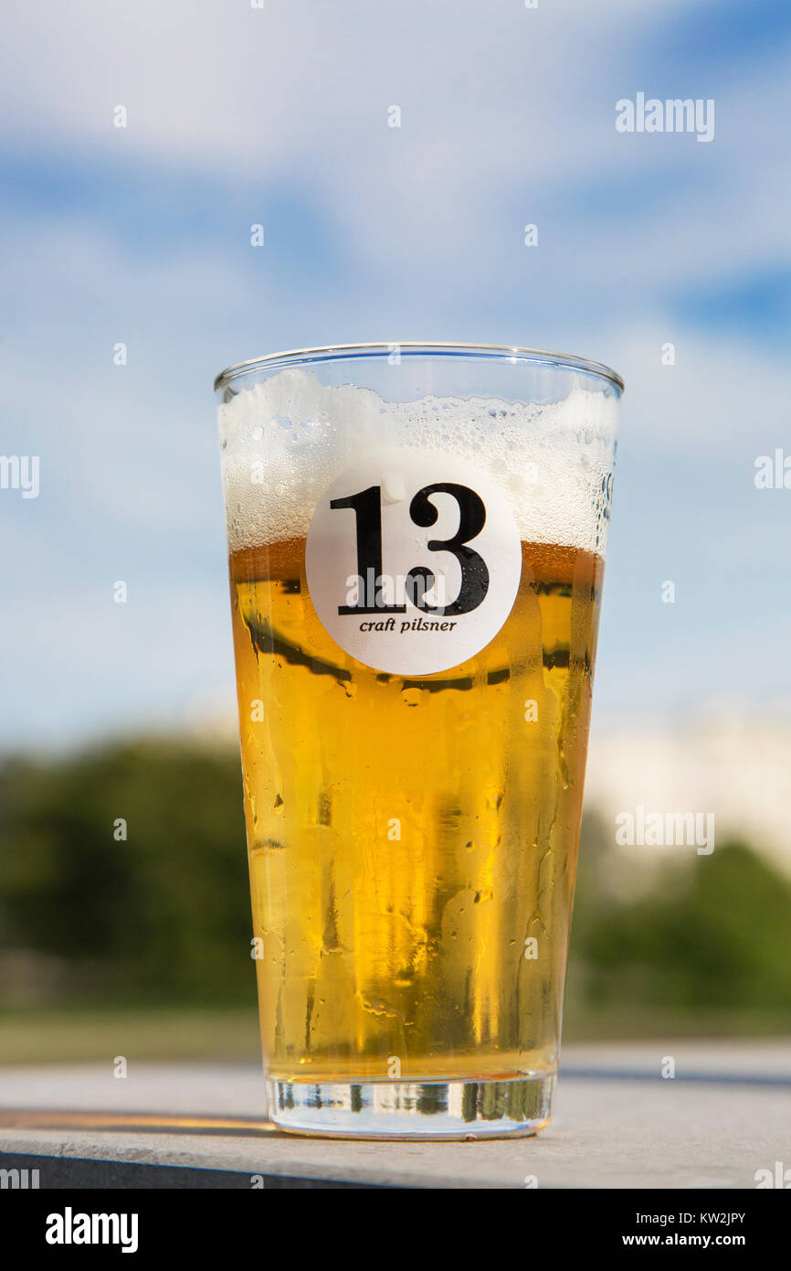Beer glass with pilsner / pilsener / pils 13, Belgian beer brewed in the city Ghent, East Flanders, Belgium - Stock Image