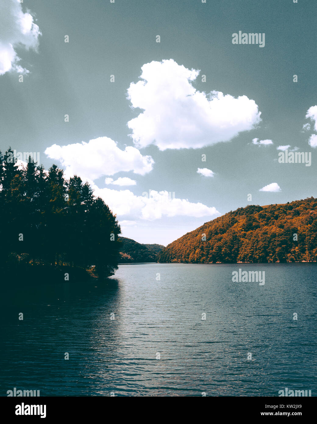 lake wiew that i took on my travel to Secu lake in Romania - Stock Image