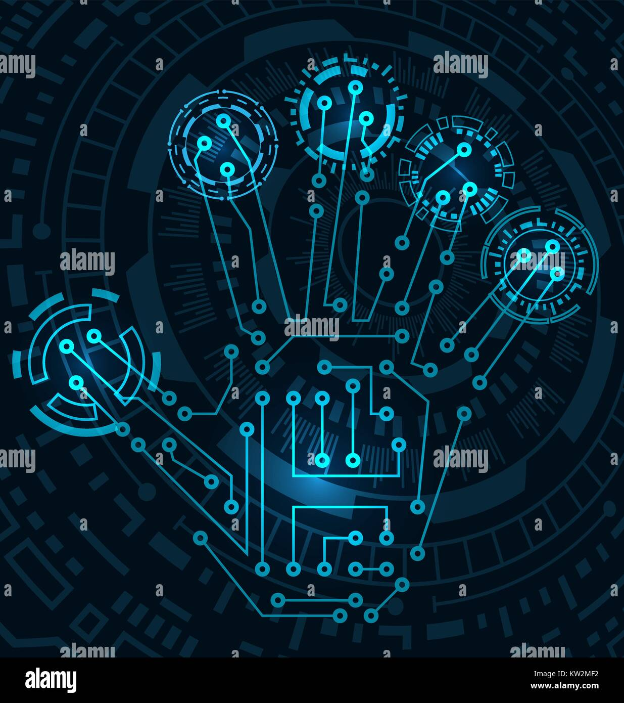 Abstract Hand with Scan, Electronic Technology Background, Circuit ...