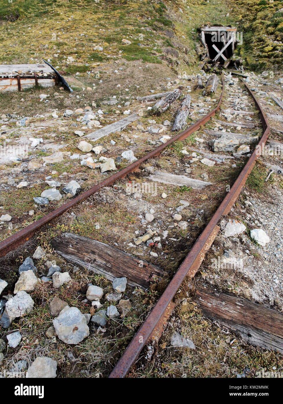 Mining remains at Skansbukta, Svalbard, Norway - Stock Image